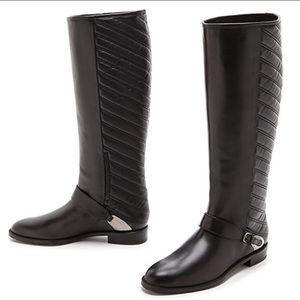 Stuart Weitzman Raceway Leather Riding Boots Quilt